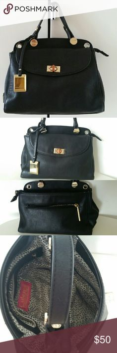 Catherine malamdrino  hand bag black Pre-owned, good condition the gold detail on the front of the bag to close has fade off a bit which is hard to see on the image. Size  H20 L26 W11  CATHERINE MALANDRINO Leather faux  Handbag Black W/Optional Cross body strap  Handbag with front pocket,zip top one handle and back pocket with the zipper gold detail hardware.. Catherine Malandrino Bags Crossbody Bags