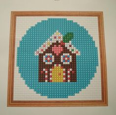 FREE Mini Gingerbread House cross stitch OR hama bead pattern