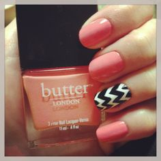 #ManicureMonday - Fun with Chevron featuring Butter London's Trout Pout via The Collaboreight