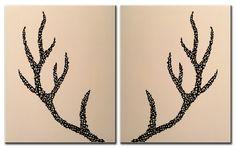 Deer Antlers   Original Painting on Canvas 16x20 by MatriXArtbyDV