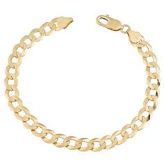 Fremada 14k Gold 7.8-mm High Polish Men's Curb Link Bracelet