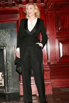 Cate Blanchett dons tuxedo style two-piece for Vogue event in New York | Daily Mail Online