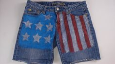 American Eagle #USA Flag Jeans Shorts Womens SZ 6 http://etsy.me/1E2hnGD #4thofjuly #summer #etsyfind #patriotic #clothes