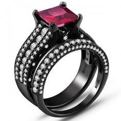 Princess Cut Rose Red Sapphire 925 Sterling Silver Black Engagement/Wedding Ring Bridal Set - USD $145.95