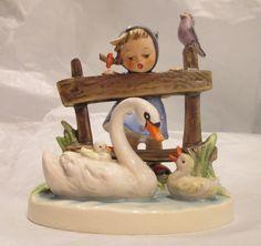 "Hummel Figurine 344 ""Feathered Friends"" ©1956~Goebel W.Germany~Girl, Geese, Swan #Goebel"