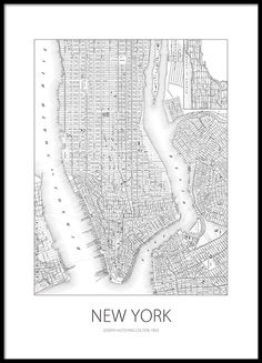 Black and white poster with a map of New York.