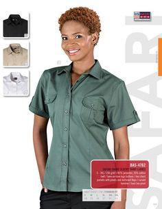 US Basic - Safari Short Sleeve Shirt - LADIES Shirt Sleeves, Safari, Button Down Shirt, Men Casual, Lady, Mens Tops, Shirts, Clothes, Fashion