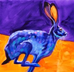 Jack Rabbit in Motion, Colorful Southwest Wildlife Art by Theresa Paden -- Theresa Paden