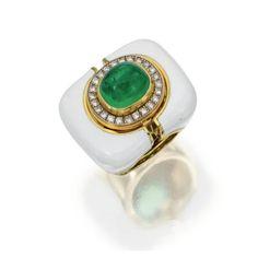 Emerald, Diamond and Enamel Ring by David Webb