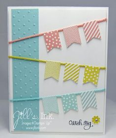 cute Banner Blast Birthday Card in three rows, coordinating colors, one embossed panel down side