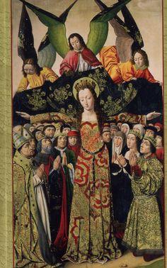 """Détail de """"La Vierge de Miséricorde"""", XVe s., Musée archéologique, Madrid."""