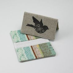 Business Card Case, Credit Card Holder, Fabric Gift Card Wallet in Turquiose and Aqua Lace Print