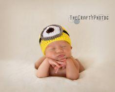 Minion crochet hat  Newborn size by CraftyPhotog702 on Etsy, $22.00