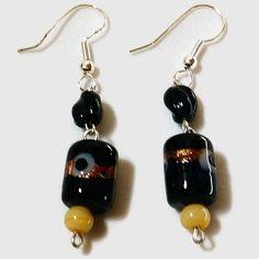 Glitter Glass Bead Earrings Black Glass Bead Earrings Dangle