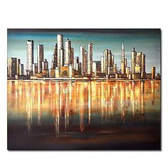 """Hand-painted+Landscape+Oil+Painting+with+Stretched+Frame+20""""+x+24""""+–+GBP+£+52.19"""