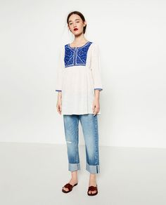 Image 1 of BLOUSE WITH EMBROIDERED BIB FRONT from Zara
