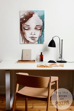 Beautiful watercolor canvas #print in #pastel #colors by #PIXERS - perfect for a wall next to your desk or in a #livingroom. Stunning effect!
