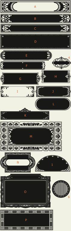 Letterhead Fonts / LHF Saratoga Panels 3 / Ribbons and Panels