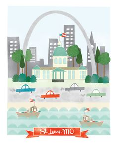 St. Louis Missouri - 11x14 print - city illustration poster wall decor children nursery art.
