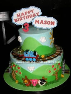 "Homemade Thomas the Train Birthday Cake - I like the ""signage"" on this one  -vsl"