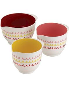 We love the feminine design of these mixing bowls! Get the set here: http://www.bhg.com/shop/meyer-cake-boss-countertop-accessories-3-piece-icing-melamine-mixing-bowl-set-p525f9f5ce4b068d9bb8440fa.html