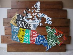 License Plate Map of Canada  Unique Handmade Vintage by Route401, $499.00