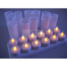 LED Rechargeable Candle Set 12pcs -Flameless Tealight Candles -Electronic Candle Lights, Amber Vivid Flickering