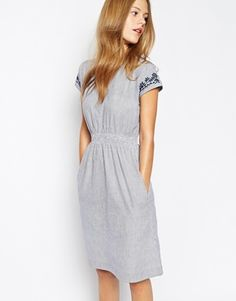 Enlarge People Tree Stripe Dress with Embroidery Details
