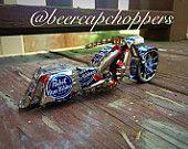 Pabst Blue Ribbon PBR Beer Bottle Cap Chopper / Motorcycle Bagger