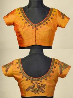 Kanchivaram pure silk blouse in golden mustard featuring Kundan hand embroidery. This blouse can work with so many of your treasured kanchivaram silk sarees. A must have !  Click:http://www.sakhifashions.com/blouse/bl-0003-mustard-yellow-blouse.html
