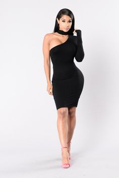 - Available in Ivory and Black - One Shoulder Fitted Dress - Attached Choker - High Stretch Quality - Double Lining - Back Keyhole - Button Closure - Made USA - 95% Rayon 5% Rayon
