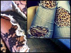 Es horrible cuando nuestros jeans se desgastan y se rompen, pero no es necesario que los tires a la basura.    Busca en tu closet aquellos pantalones de mezclilla que compraste rotos de las rodillas en tu adolescencia y dales nuevo uso este invierno.   Lo único que necesitas hacer es comprar unos leggings o medias de diseños divertidos. Puede ser animal print o esas medias de encaje que siempre quisiste pero nunca te atreviste a usar.
