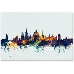 Trademark Fine Art Oxford England Skyline Blue Canvas Art by Michael Tompsett, Size: 16 x 24, Multicolor