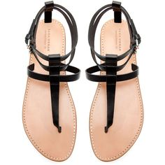 Zara Flat Thong Sandals With Buckle ($80) ❤ liked on Polyvore