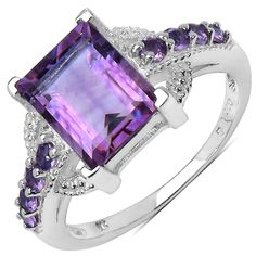Baguette- and round-cut amethyst ringRhodium-plated sterling silver jewelryClick here for ring sizing guide