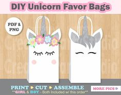 ***This Listing is for an INSTANT DOWNLOAD FILE*** Decorate your Party favor Bags with these adorable UNICORN DIY Printable Templates!! Please look at Picture#2 to see the printable templates included with this purchase! Youll get the Girl and the Boy Unicorn Templates (Silver