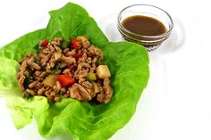 Low Carb Chicken Lettuce Wraps. They're easy and make a terrific appetizer, light lunch or dinner. Each wrap has only 62 calories, 2 grams of fat and 2 Weight Watchers POINTS PLUS. http://www.skinnykitchen.com/recipes/chicken-lettuce-wrap-appetizers-just-like-in-your-favorite-asian-restaurant/