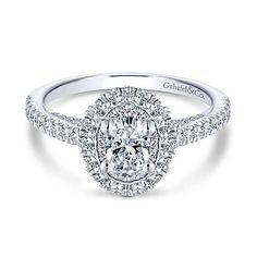 Gisele 14k White Gold Oval Double Halo Engagement Ring #Engagementring #Engagementrings #Weddingring #GabrielNY #GabrielandCo #Diamonds #Love #oval #ovalcut