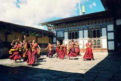 Monks dancing at the Kurjey Lhakhang