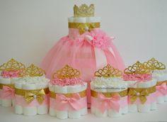 FIESTA EN UNA CAJA! Rosa y oro babyshower / princesa pastel de pañales / único pañal cake / muchacha bebé ducha sus una chica / mami que / centro de mesa