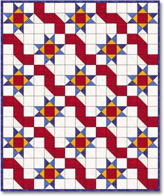 Estrellas Y Cintas (Ribbons & Stars) Quilt Kit; would look nice with a rescue (fire truck, ambulance, police car, etc.)  truck backing for a little boy's quilt