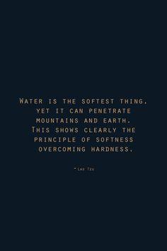 The principle of softness overcoming hardness ~ via   wayward girl