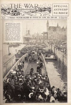 "The War Illustrated, 24 Oct 1914: "" Antwerps day of anguish. The photograph shows the enormous crowd of despairing refugees on the North German Lloyd Quay struggling to reach to floating pier in the foreground leading from the battered and burning town to the temporary pontoon bridge. The escape of the soldiers was a matter of vital importance and some are seen crossing the pontoon bridge."" Source:  A Raft of Apples: World War 1"