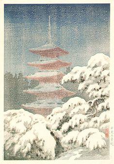 Red Pagoda in Snow, Nikko  by Tsuchiya Koitsu, 1930