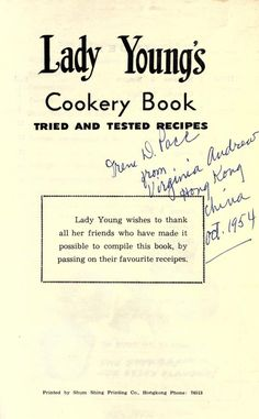 Lady Young's cookery book : tried and tested re...