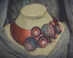 Distressed copper Statement necklace large Bib от ZaiZaiJewelry