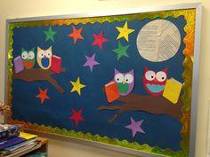 New October bulletin board. Owls!