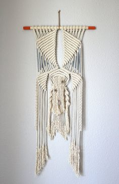 """Macrame Wall Hanging """"Time Travel no.7"""" by HIMO ART, One of a kind Handcrafted…"""