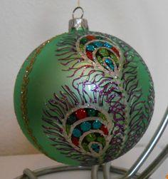 Thomas Glenn Ornament PEACOCK FEATHERS 4 INCH BALL ORNAMENT