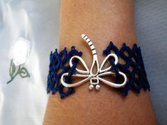 Pulsera frivolité con libélula.   La Libellule / CorMey - Artesanio